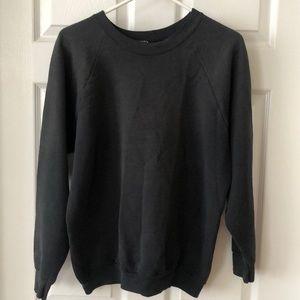 Vintage faded worn black crewneck fleece